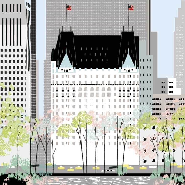 Illustrated Hotel Plaza New York. Pastel colors. Green, pink, baby blue... contrasted with grey & black from the modern buildings of New York