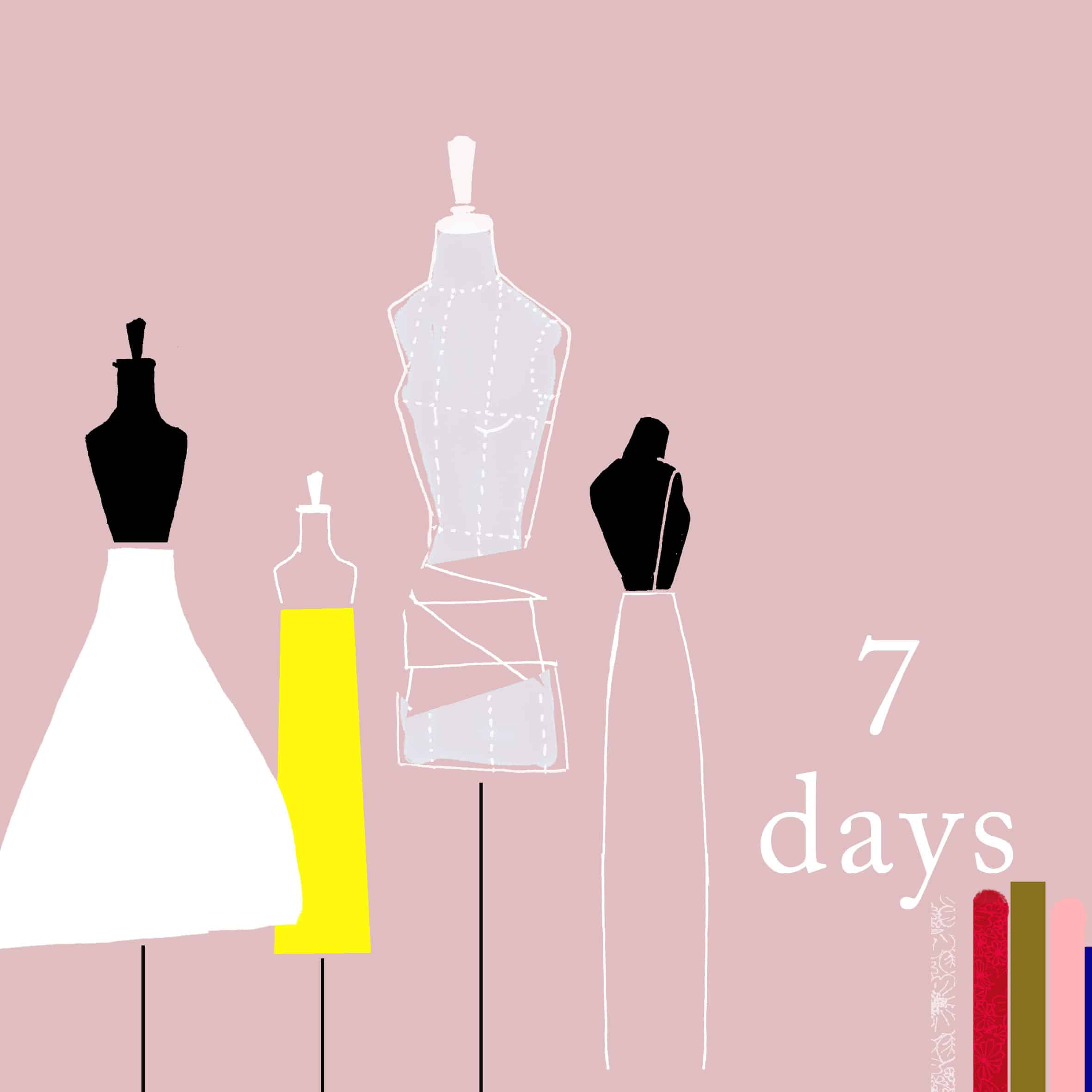 Different sewing mannequin with half-finished dresses. Colors pink in the background and saturated on the fabrics