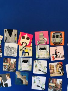 Memory card game with the with the New York Plaza Hotel by Vincent Moustache with other illustrators artworks. Background blue Klein.
