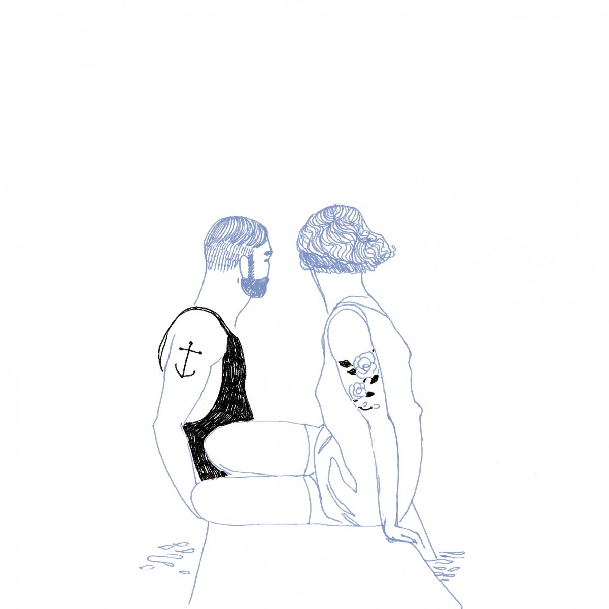 @vincentmoustache back of 2 swimmers on the trampoline. Illustration in black & blue. Tattoos in the arms.