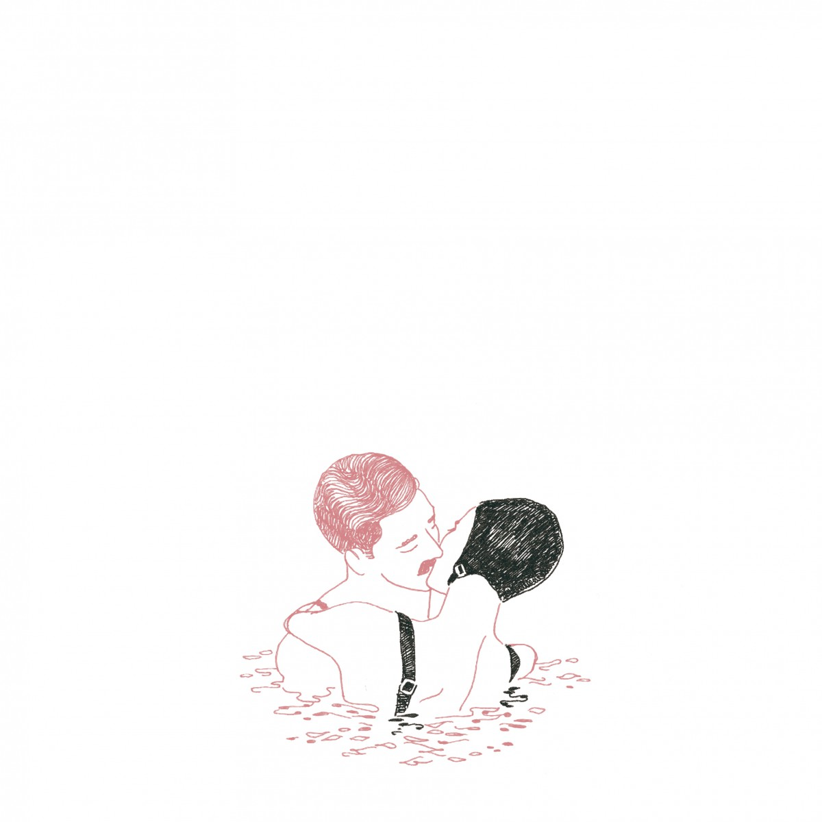 @vincentmoustache 2 swimmers inside the watter kissing each other. illustration in pink & black.