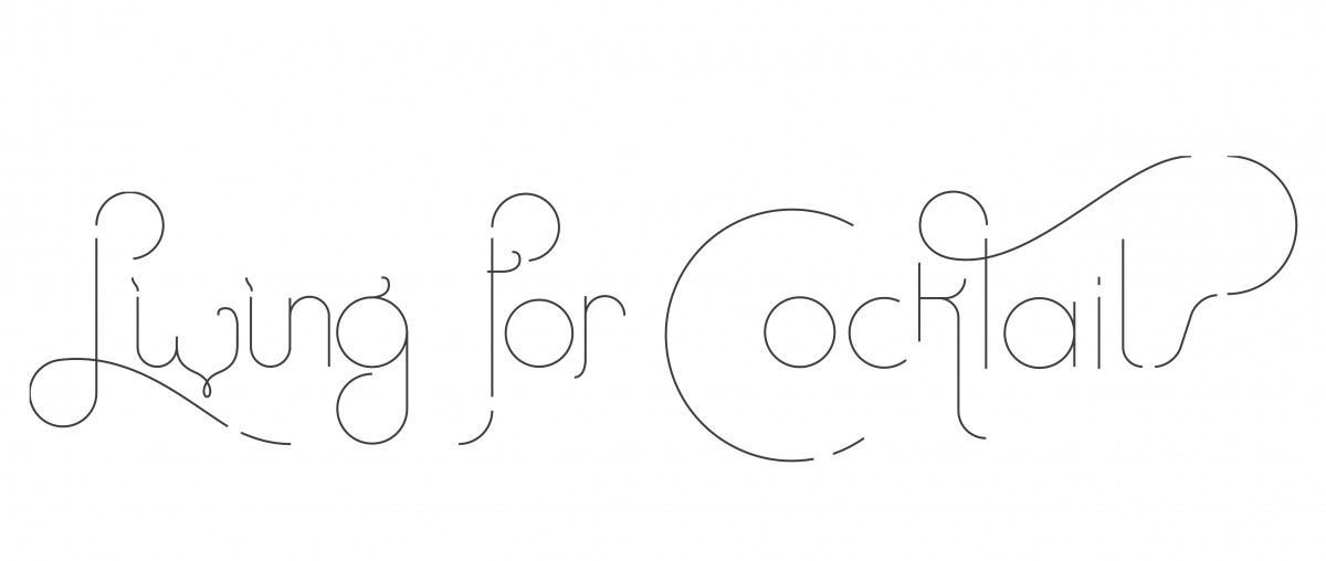 LiLiving For Cocktails Logotype in hand made lettering remembering an Art Nouveau Calligraphy